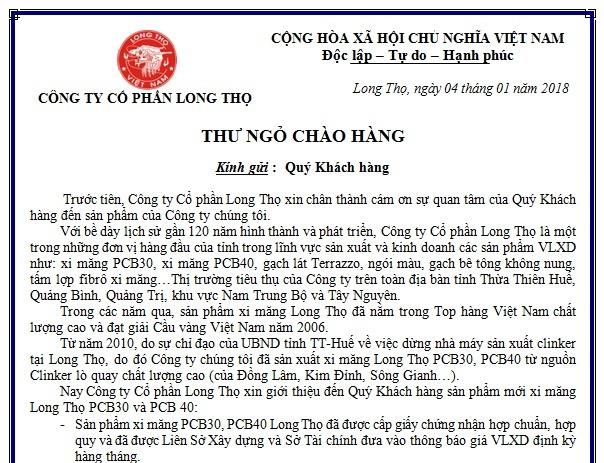 Thư ngỏ giới thiệu sản phẩm xi măng Long Thọ PCB30 - PCB40