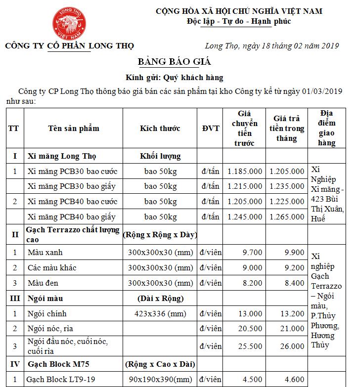Thông báo giá bán sản phẩm Long Thọ tháng 03/2019