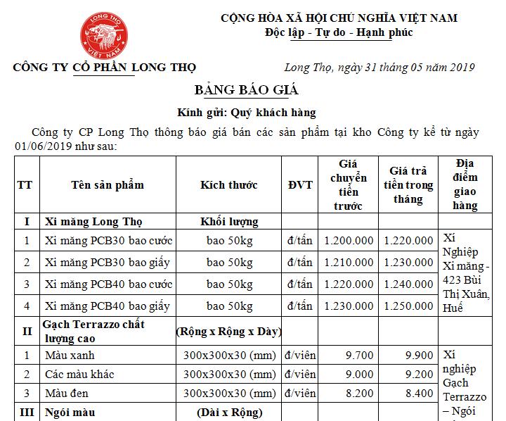 Thông báo giá bán sản phẩm Long Thọ tháng 06/2019