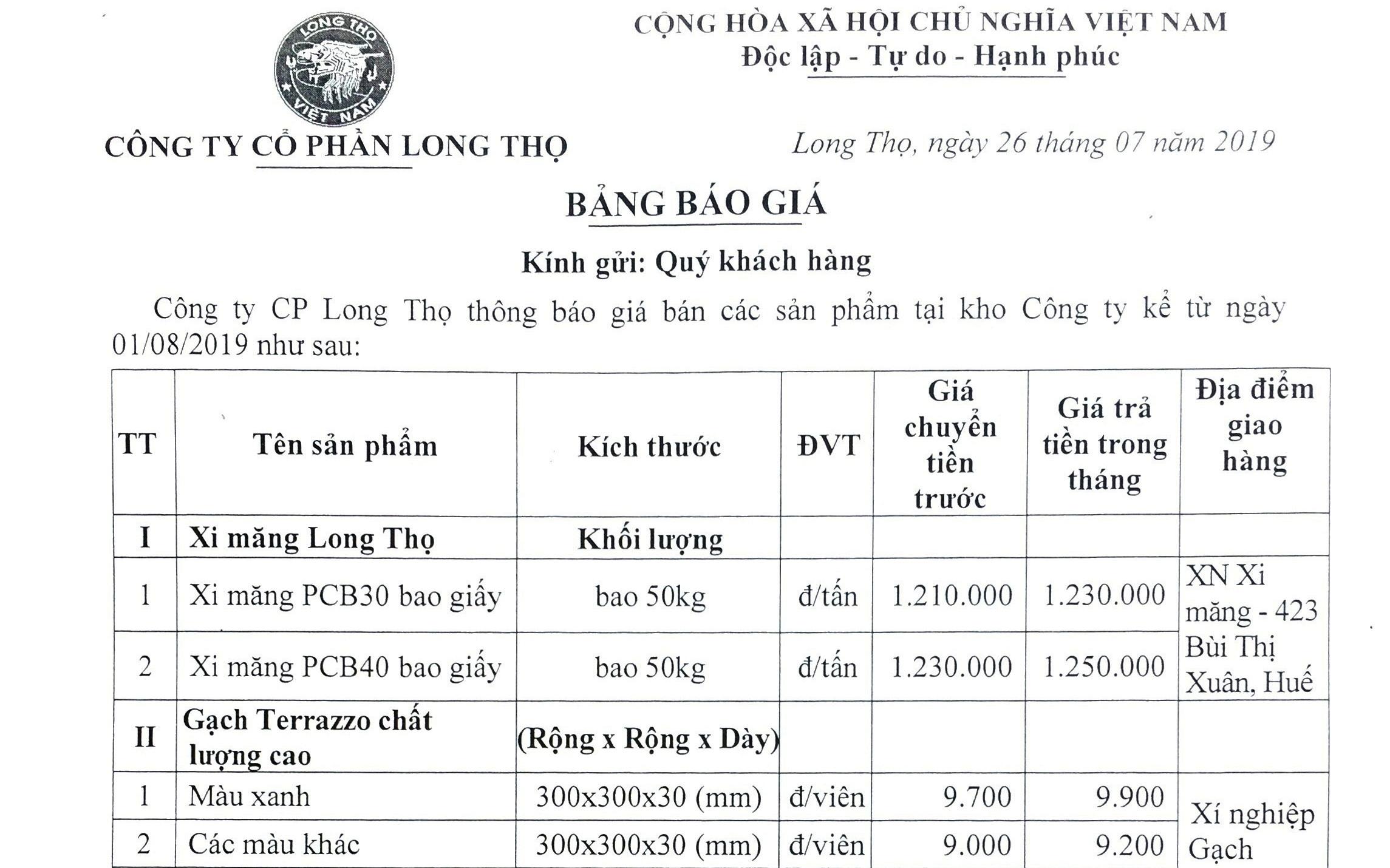 Thông báo giá bán sản phẩm Long Thọ tháng 8/2019