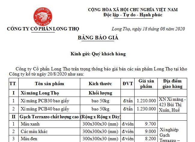 Thông báo giá bán sản phẩm Long Thọ tháng 8.2020