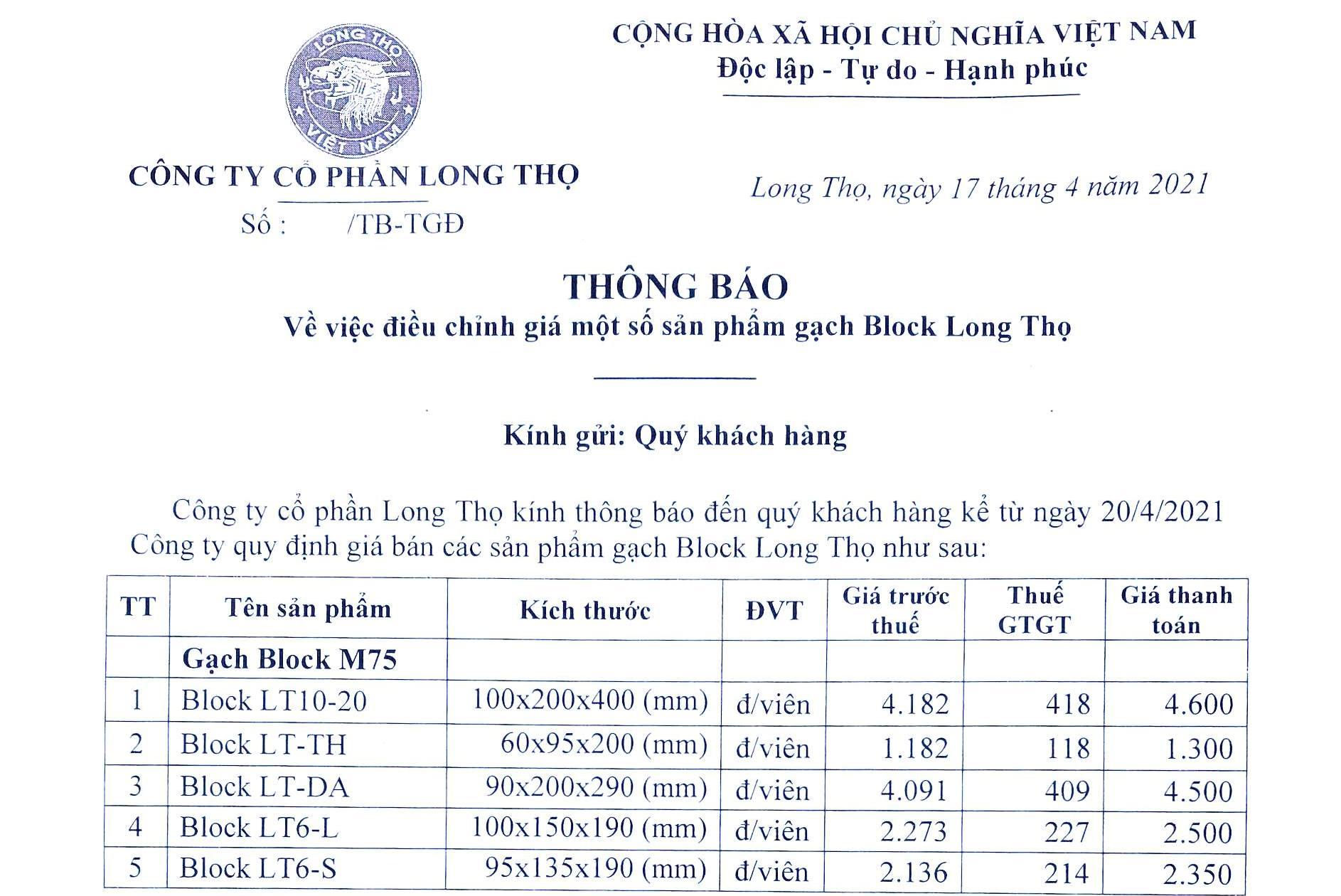 Thông báo về việc điều chỉnh giá một số sản phẩm gạch Block Long Thọ từ ngày 20.4.2021