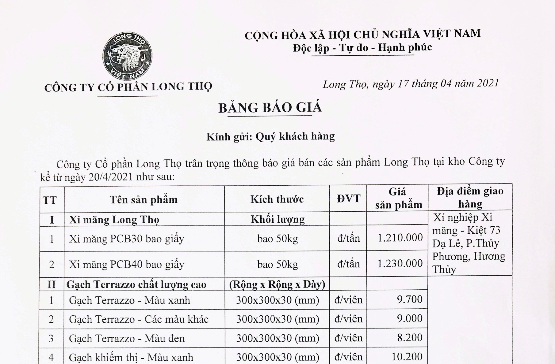 Thông báo giá bán các sản phẩm Long Thọ từ ngày 20.4.2021